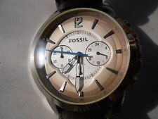 Fossil men's chronograph brown leather band Analog,quartz & dress watch. FS-4533