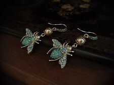Vintage Turquoise & Aquamarine Crystal Bee Drop Pierced Hook Earrings