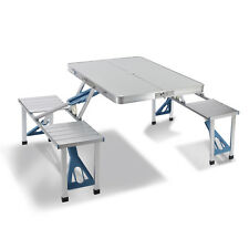 Portable Folding Camping Picnic Table w/ 4 Seats Aluminum Suitcase Outdoor
