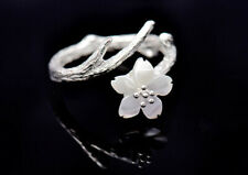 S06 Ring Twig Cherry Blossom Pearl White Silver Plated Adjustable Size