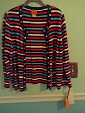 NWT Ruby Rd. ladies LS open front cardigan turquoise, orange stripe beading XL