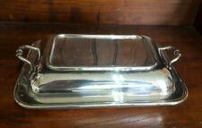 More details for good vintage silver plated roberts & belk  entree vegetable serving dish