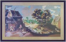 grande punto croce mezzo punto scena paesaggio da dipinto Seicento David Teniers