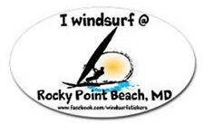 "I Windsurf @ Rocky Point Beach, Md Bumper/Window Sticker Oval 3"" X 5"""