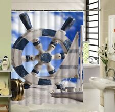 "Nautical Decor Shower Curtain Ships Navy Wheel Sailing Sailboat New 70""x70"""