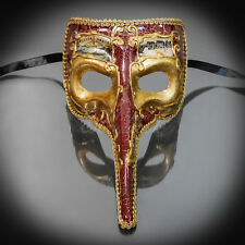 Medieval Plague Doctor Venetian Masquerade Mask for Men - Red/Gold (M7461)