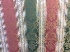 9m Pink Green Gold Damask Stripe Fabric Curtains FREE POSTAGE