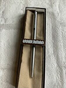 VINTAGE Waterman Brushed Steel BALLPOINT Pen- *With BOX *