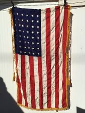 New listing vintage 48 star american flag 3x5 Gold Fringed With Gold Cord And Tassels