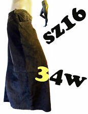 LONG black leather suede skirt 16 34 Apostrophe gothic punk pencil straight goth