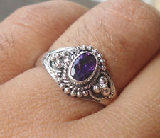 925 Sterling Silver-SR80-Bali Handcrafted Ring With Amethyst Cut Size 7