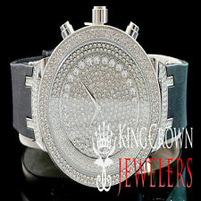 Mens 14k White Gold Finish Lab Diamond Iced Out Silicon Strap Jojo Jojino Watch