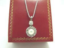 Damen Kette 585 Weißgold mit Perl Brillant Anhänger 14 Karat Brillantschmuck