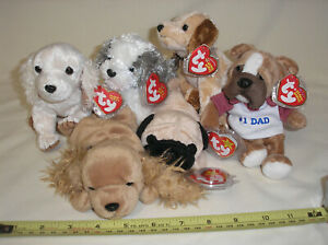 Lot Ty Beanie Babies Dad Badges Pugsly Laptop Spunky Herder Plush Dog NWTM NoRes