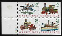 US Scott #2718a, Plate #22222 Booklet Pane 1992 Christmas 29c VF MNH