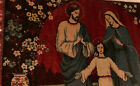 """Vintage Antique Tapestry Mary, Joseph and baby Jesus 39""""Wide X 21""""Long"""