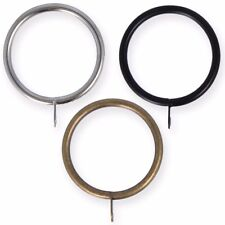 25mm - 50mm METAL CURTAIN POLE RINGS  Fixed Eye Hanging Clips Chrome Brass Black