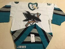 San Jose Sharks LICENSED VINTAGE AUTHENTIC WHITE Hockey CCM New Jersey ADULT 52
