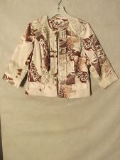 S5999 Coldwater Creek Size 10 Cream/Brown Floral Bead Detailed Crop Open Jacket