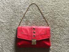 $335 new Milly red leather bag chain purse large clutch handbag