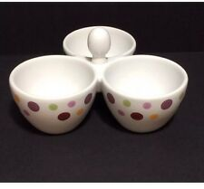 NIB Pampered Chef Simple Additions Dots Trio Serving Bowl Divided Server Retired