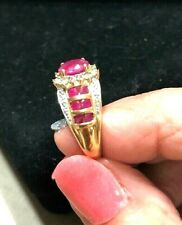 Burma Ruby and diamond 10K yellow gold ring size 8   3.85 Grams