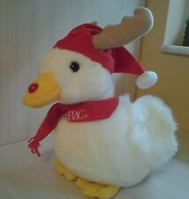 """2003 Christmas 12"""" Plush Talking Aflac Holiday Reindeer Duck With Light Up Nose"""