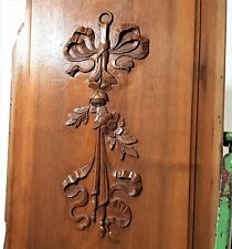 Architectural salvage flower panel Antique French carved wood salvaged paneling