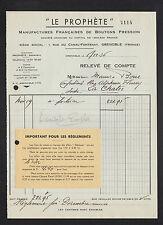 """GRENOBLE (38) USINE de BOUTONS PRESSIONS """"LE PROPHETE"""" en 1936"""