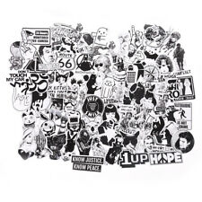 100Pcs Black and White Stickers Skateboard Luggage Laptop PVC Graffiti Sticker#