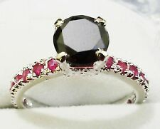 1.06 Ct Certified 925 silver black diamond engagement rings~OM03