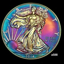 American Silver Eagle Coin Colorful Toning #a586