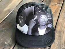 Trucker Hat SnapBack Adjustable Strap Tupac 2Pac Notorious BIG Biggie BLACK