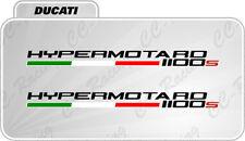 2 Adesivi DUCATI HYPERMOTARD 1100 S con bandierina italia NERO