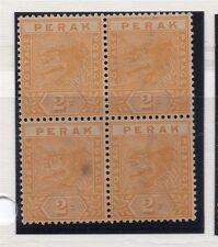Perak 1892 Tiger Issue Fine Mint Unused No Gum Block of 2c. 117694