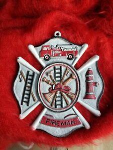 Handpainted Fireman Cast Iron Plaque Maltese Firefighter Cross sign 8 x 9 Silver