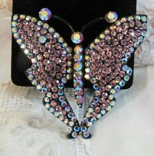 """Stunning Butterfly Statement Brooch Colorful Pink Aurora Brooch Crystal 2 1/2"""""""