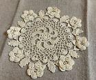 Vintage Hand Crocheted Doily, Round, Flower Design, Cotton, Very Light Beige