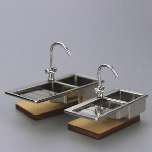 1/6 1/12 Dollhouse Miniature Kitchen Sink Water Tap Toys Model Doll House Decor