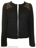 LADIES WOMENS Black Chunky Knit Studded Shoulder Cardigan - SIZE 8 10 12 14