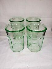 "4 Vintage Anchor Hocking Green Depression Glass Tumblers 5½"" PANEL pattern EUC"