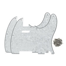 2PCS White Pearl 4Ply Guitar Pickguard 8Holes & Screws for Fender Tele Guitar