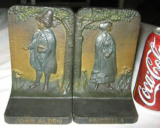 Antique American Bradley Hubbard Massachusetts Pilgrim Cast Iron Statue Bookends
