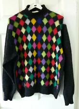 United Colors Benetton Vintage Shetland Wool Jumper GreyMulticolour Argyle Check