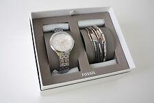 FOSSIL SET Uhr Damenuhr+ 2 Armbänder BQ3150 Edelstahl silber