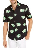 Alfani Mens Shirt Green Black Size XL Abstract Floral S/S Button Down $55 296