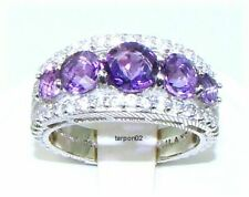 Judith Ripka 1.90ct Amethyst Diamonique Tapered Sterling Silver Band Ring 7