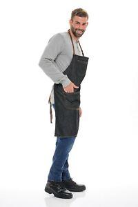 Heavy Duty Denim Work Apron With Pockets, Jean Bib Tool Apron for Men & Women