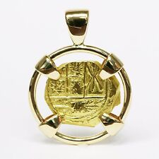 1715 Spanish Fleet Re-Created 18k Yellow Gold Coin Artifact Pendant