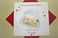 Handmade Personalised Forever Friends Bears Anniversary Card Husband Wife